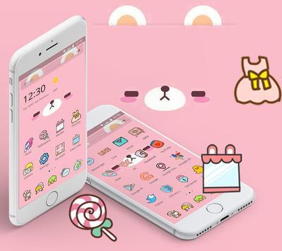 Pink Cute Cartoon Bear Theme capture d'écran 3