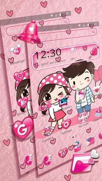Cute Cartoon Love Launcher Theme poster
