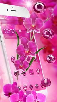 Pink Orchid Spring Flowers Theme screenshot 1
