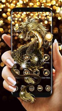 Sparkling Golden Dragon Theme poster