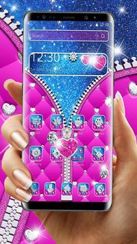 Glossy Glitter Love Zipper Theme poster