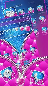 Glossy Glitter Love Zipper Theme screenshot 2