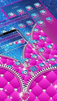Glossy Glitter Love Zipper Theme screenshot 3