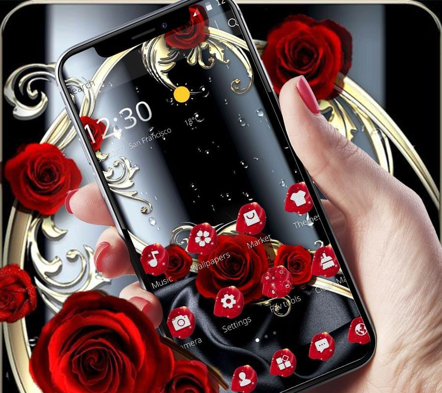 Black Red Rose Rain Drops For Android Apk Download