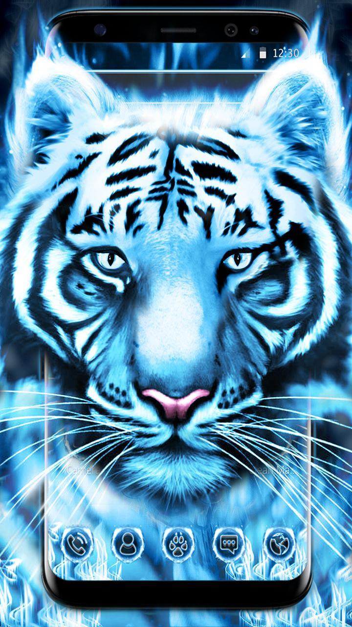 Blue White Flaming Cool Tiger Theme For Android Apk Download