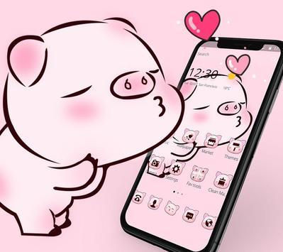 Pink Cute Love Piggy Theme poster