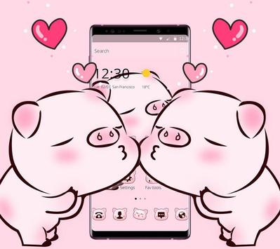 Pink Cute Love Piggy Theme screenshot 1