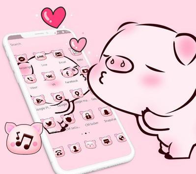 Pink Cute Love Piggy Theme screenshot 2