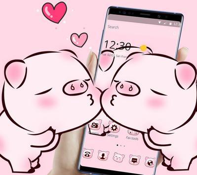 Pink Cute Love Piggy Theme screenshot 3