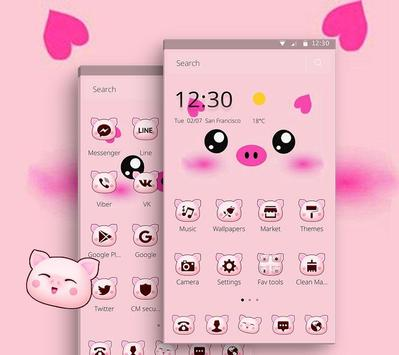 Pink Cartoon Piggy Kawaii Theme screenshot 1