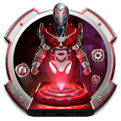 Red Sci-fi futuristic Robot Launcher icon
