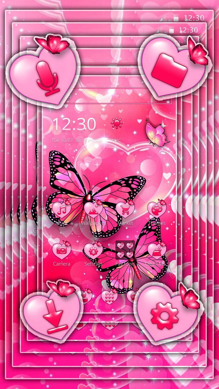 Glitter Pink Love Butterfly Launcher Theme For Android Apk Download