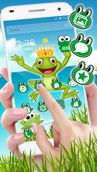 Kawaii Big Eyes Green Cartoon Frog Theme screenshot 1
