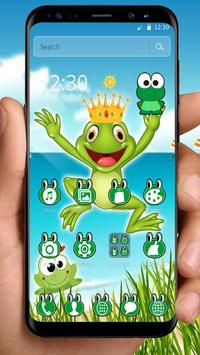 Kawaii Big Eyes Green Cartoon Frog Theme screenshot 3