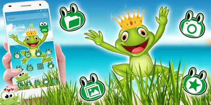 Kawaii Big Eyes Green Cartoon Frog Theme screenshot 4