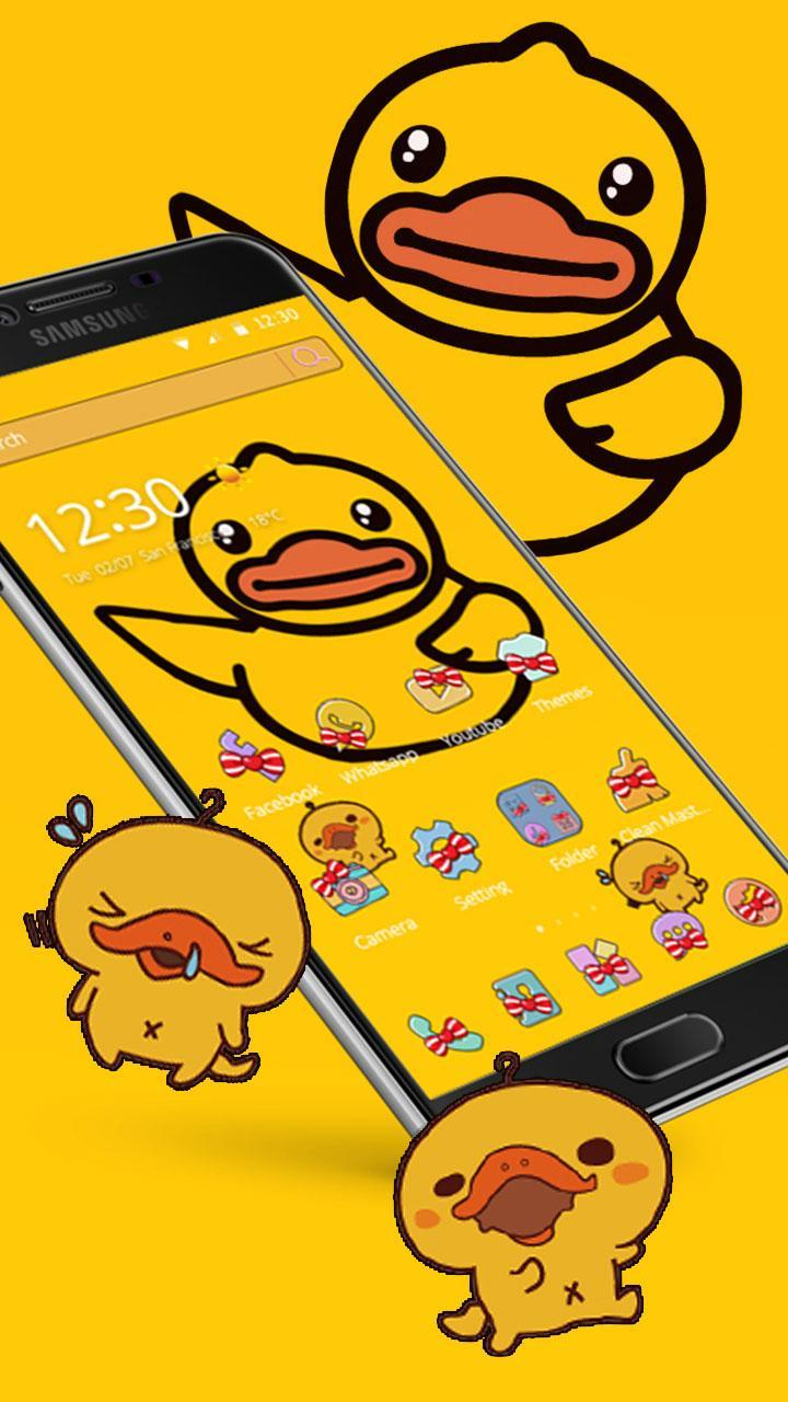 Cartoon Yellow Cute Duck Theme Butterfly Icon For Android