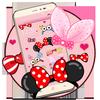 Cartoon pink cute butterfly theme wallpaper 图标