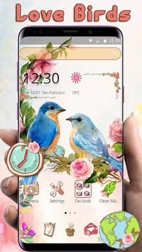 catchy sweet love birds Launcher Theme poster