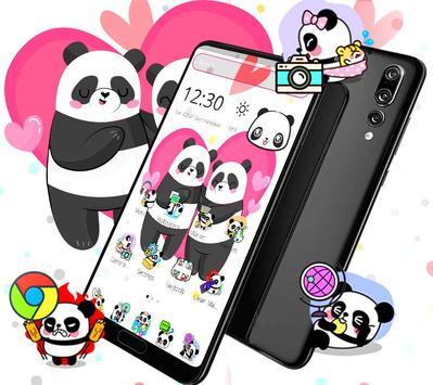 Cute Pink Lovely Panda Launcher Theme🐼💖 screenshot 1