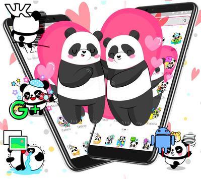Cute Pink Lovely Panda Launcher Theme🐼💖 screenshot 2
