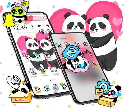 Cute Pink Lovely Panda Launcher Theme🐼💖 screenshot 3