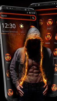 Flaming Hoodie Fighter Launcher Theme screenshot 3