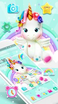 Cute Rainbow Unicorn Launcher Theme poster