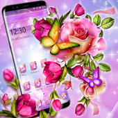 Glossy Sparkling Flower Butterfly Theme icon