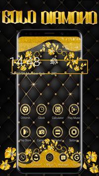 Matt Black Gold Diamond Launcher Theme poster