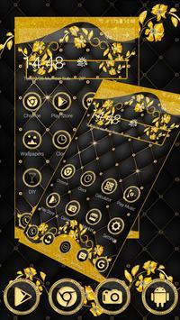 Matt Black Gold Diamond Launcher Theme screenshot 5