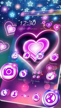 Colorful Neon Lustrous Heart Theme poster