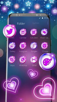 Colorful Neon Lustrous Heart Theme screenshot 2