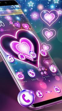 Colorful Neon Lustrous Heart Theme screenshot 3