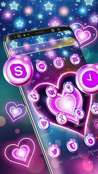 Colorful Neon Lustrous Heart Theme screenshot 5
