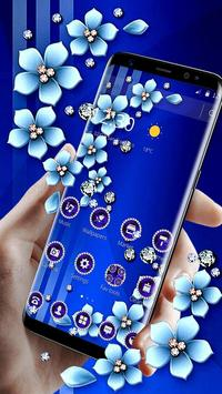 Blue Flower Glitter Diamond Business Theme poster