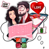 Cartoon Romantic Couple Launcher Theme icon