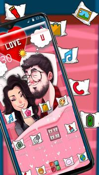 Cartoon Romantic Couple Launcher Theme screenshot 2