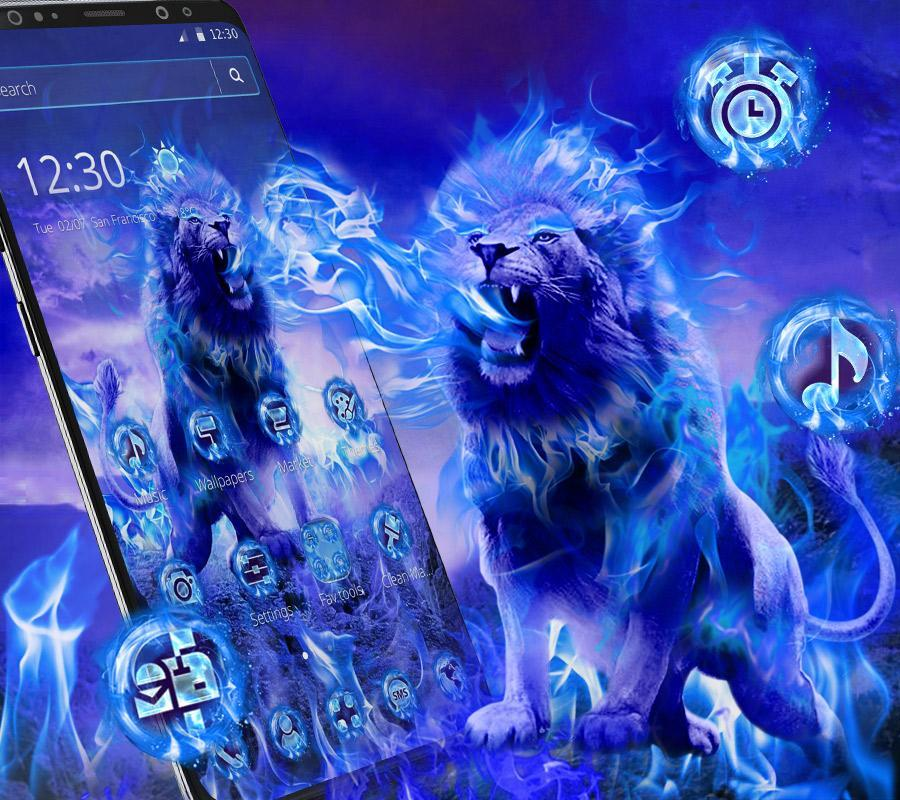 Wild Blue Flame Lion Theme For Android Apk Download