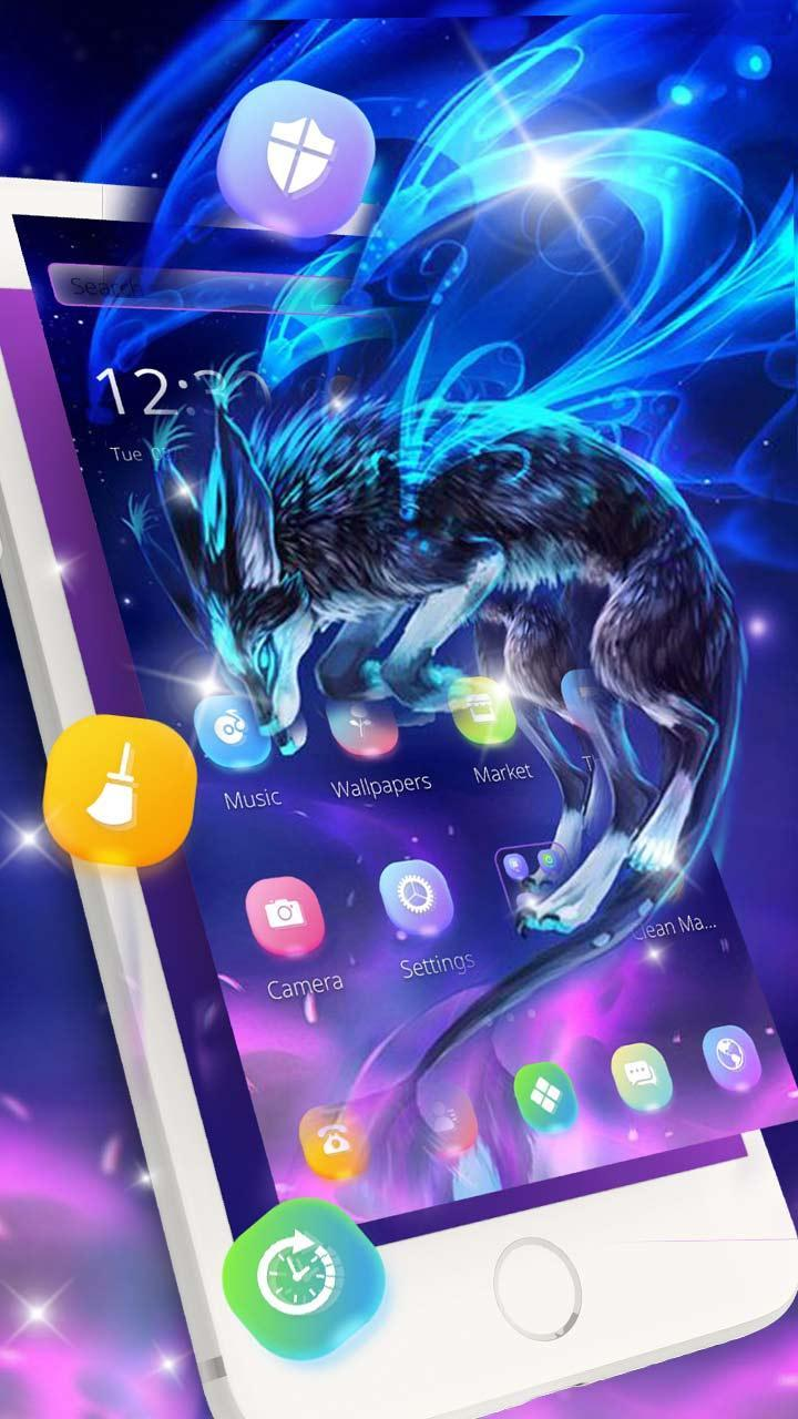 Neon Blue Spirit Wolf Theme For Android Apk Download