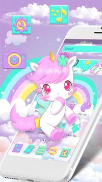 Cute Pink Unicorn Rainbow Theme poster