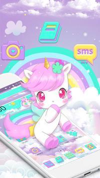Cute Pink Unicorn Rainbow Theme screenshot 1