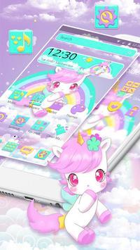 Cute Pink Unicorn Rainbow Theme screenshot 2