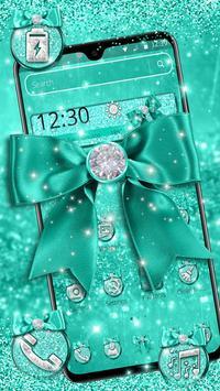 Turquoise Green Diamond Bow Theme poster
