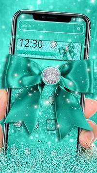 Turquoise Green Diamond Bow Theme screenshot 1