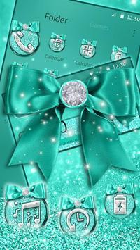 Turquoise Green Diamond Bow Theme screenshot 2