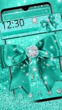 Turquoise Green Diamond Bow Theme screenshot 3