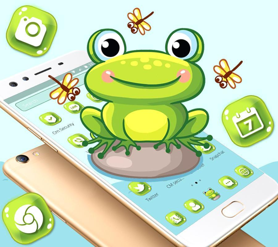 Cute Lovely Green Frog Cartoon Launcher Theme For Android Apk Download