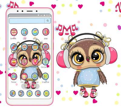 Cute Owl Cartoon Love theme 🦉 screenshot 1