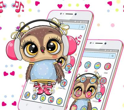 Cute Owl Cartoon Love theme 🦉 screenshot 2