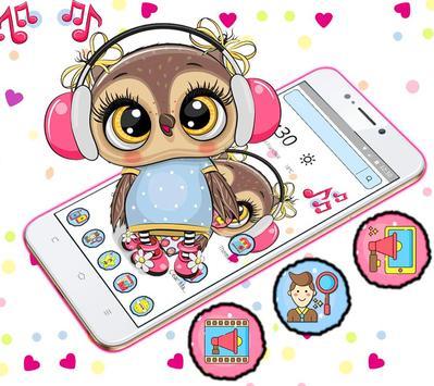 Cute Owl Cartoon Love theme 🦉 screenshot 3